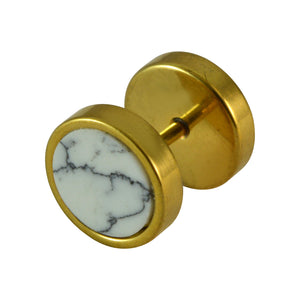 Sarah Gold Finish Round Stud Earring with Marble Stone for Men