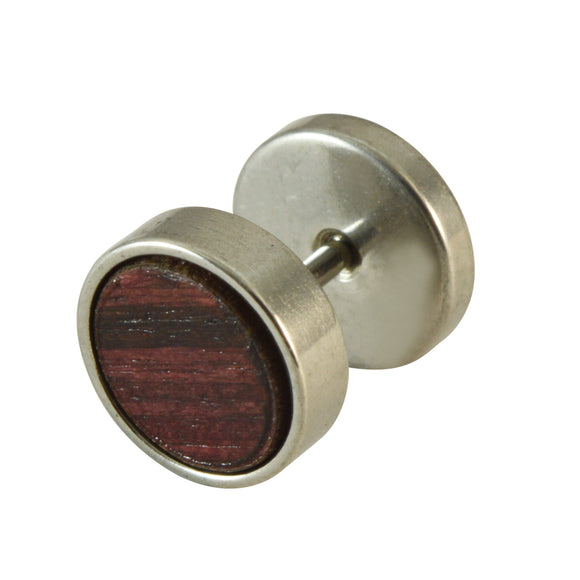 Sarah Stainless Steel Finish with Wooden Maroon Texture Inlay Stud Earring for Men