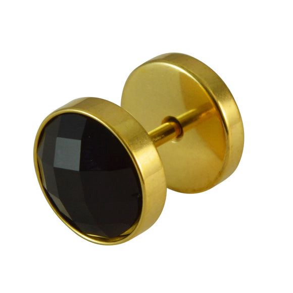 Sarah Faux Black Rhinestone Single Stud Earring in Golden Outer Finish for Men - Gold