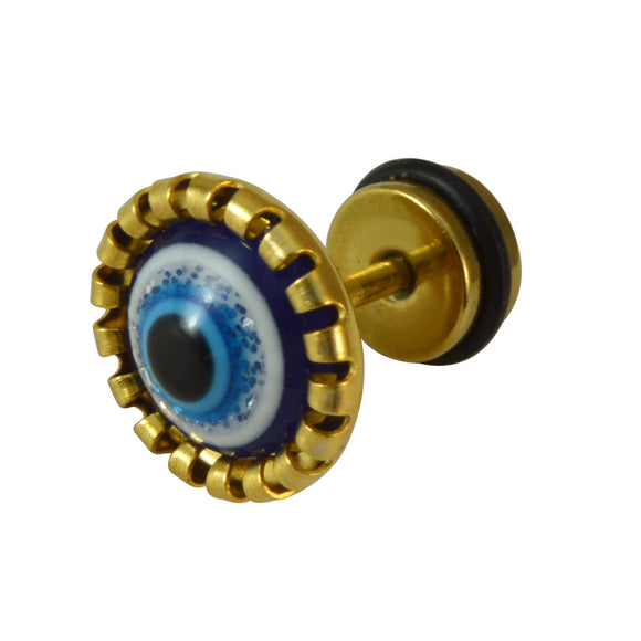 Sarah Mens Golden Round Stud Earrings with Synthetic Turquoise Evil Eye Men Earring