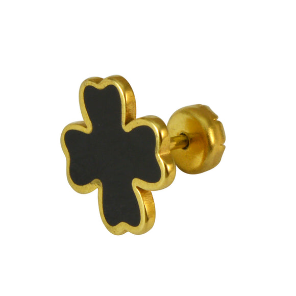 Sarah Gold Finish with Black Enamel Cross Men Earring