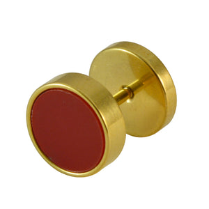 Sarah Round Shaped Golden Stud with Red Enamel Finish Earring for Men