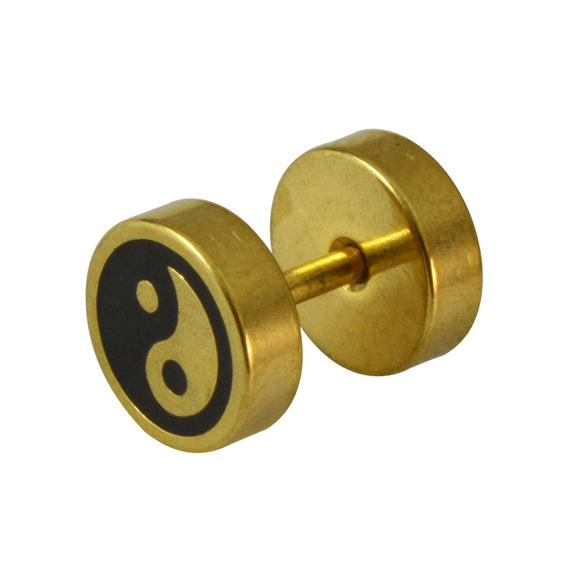 Sarah Taoism Symbols, Yin & Yang Symbol Gold and Black Stud Earring for Men