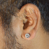 Sarah Smiley Stud Silver Stainless Steel Earring for Boys and Men