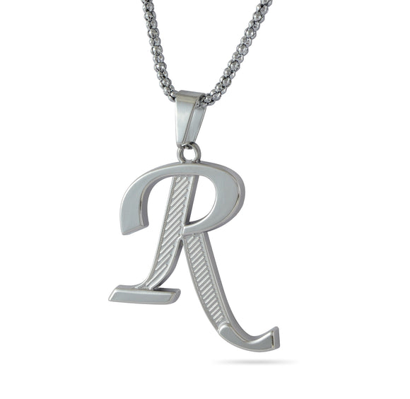 Sarah R Alphabet Pendant Necklace - Silver