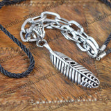 Sarah Feather Pendant Chain Mens::Boys, Silver for Everyday wear
