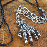 Sarah Skeleton Hand Pendant Chain Mens::Boys, Silver for Everyday wear