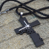 Sarah Cross Pendant Chain Mens::Boys, Black for Everyday wear