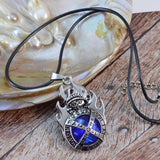 Sarah Blue Faux Stone with Flame Design Pendant Necklace Men::Boys, Silver