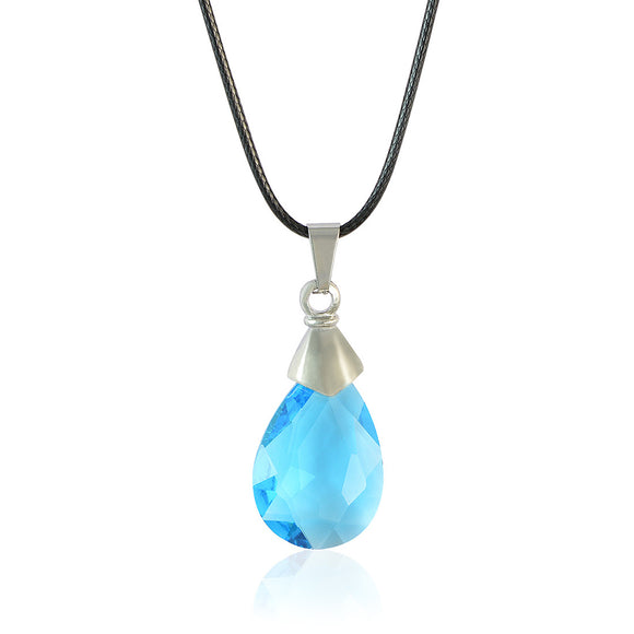 Sarah Drop Shaped Blue Faux Stone Pendant Necklace Men::Boys, Blue