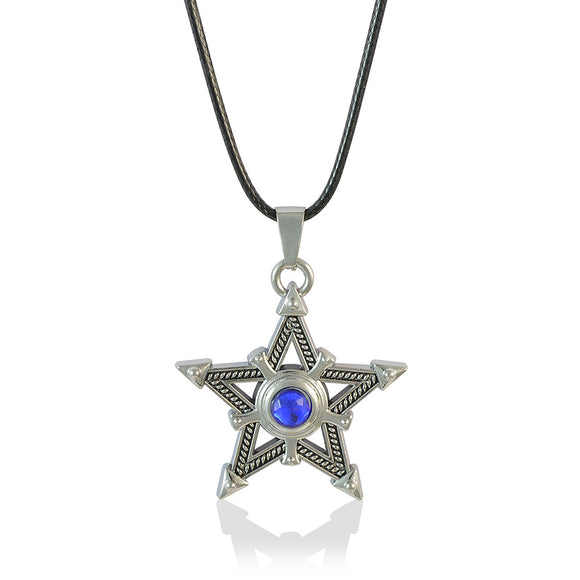 Sarah Star with Blue Faux Stone Pendant Necklace Men::Boys, Blue