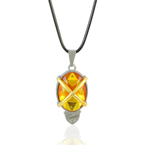 Sarah Oval Yellow Faux Stone Pendant Necklace Men::Boys, Yellow