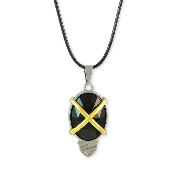 Sarah Oval Black Faux Stone Pendant Necklace Men::Boys, Black