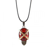 Sarah Oval Red Faux Stone Pendant Necklace Men::Boys, Red