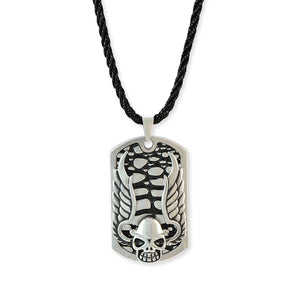 Sarah Skull with Wings Design Silver Color Pendant Necklace for Men