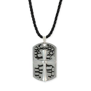 Sarah Cross Design Silver Color Pendant Necklace for Men