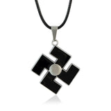 Sarah Lacquered Reverse Swastik Black Color Locket for Men