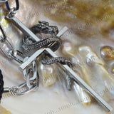 Sarah Silver Cross with Snake Locket for Men