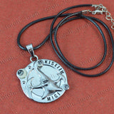 Sarah Round Pendant Necklace for Men - Silver