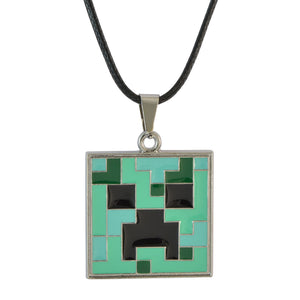 Sarah Pixelated Square Pendant Necklace for Men - Green