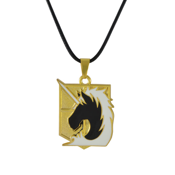 Sarah Unicorn Shield Pendant Necklace for Men - Gold