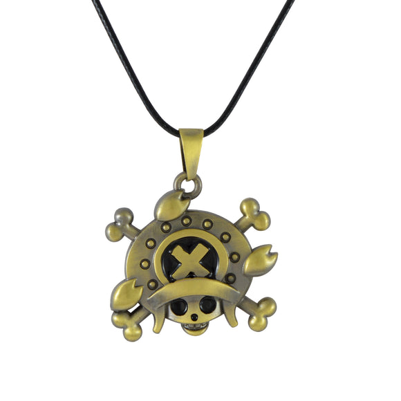 Sarah Pirate Skull with Cap Pendant Necklace for Men - Gold