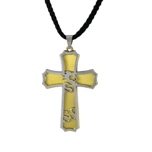 Sarah Dragon Cross Pendant Necklace for Men - Gold