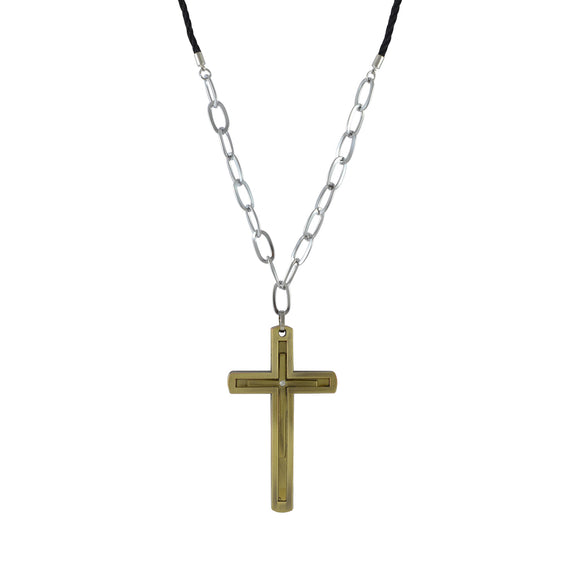 Sarah Chain Cross Pendant Necklace for Men - Gold