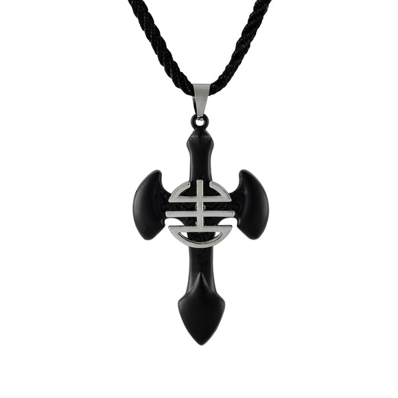 Sarah Soild Cross Pendant Necklace for Men - Black