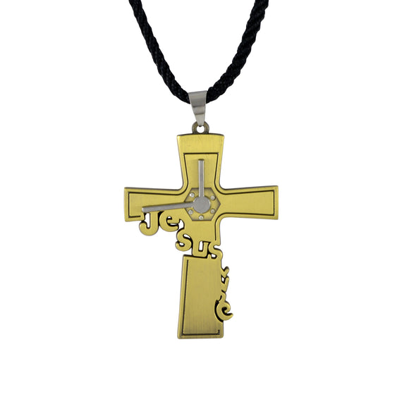 Sarah Jesus Cross Pendant Necklace for Men - Gold