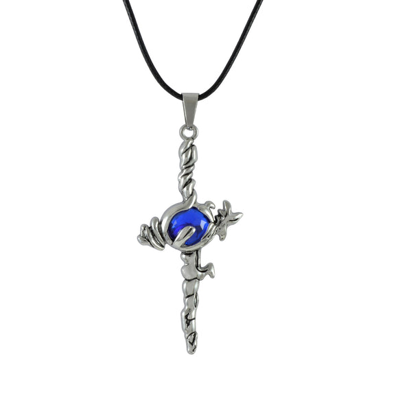 Sarah Blue Stone Sword Pendant Necklace for Men - Silver