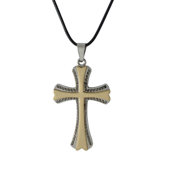 Sarah Cross Pendant Necklace for Men - Gold