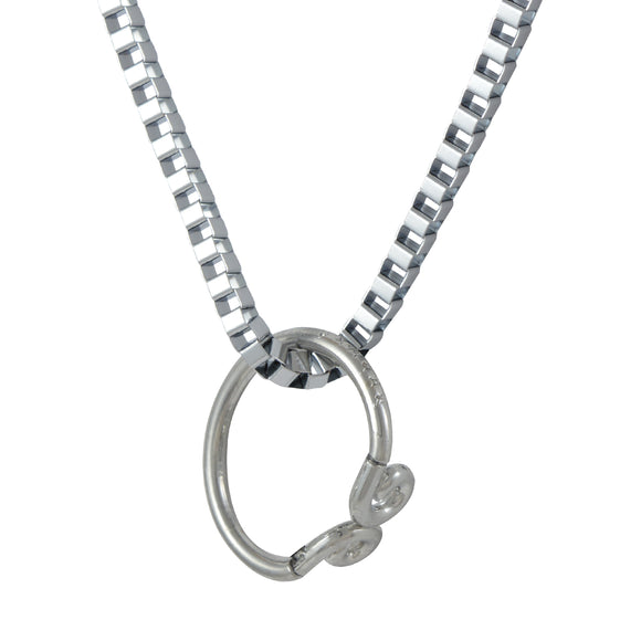Sarah Curved Ring Pendant Necklace for Men - Silver