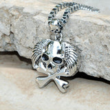 Sarah Angel Wings Skull Head Pendant Necklace for Men - Silver