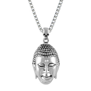 Sarah Budha Head Pendant Necklace for Men - Silver