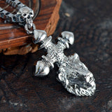 Sarah Lion Head Cross Pendant Necklace for Men - Silver