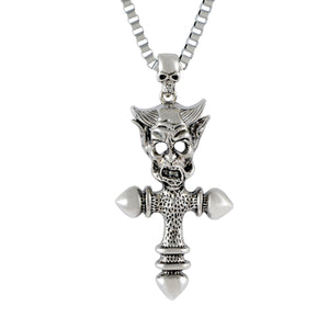 Sarah Monster Head with Cross Pendant Necklace for Men - Silver