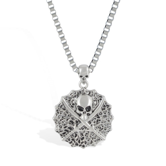 Sarah Skull with Sword Pendant Necklace for Men - Silver