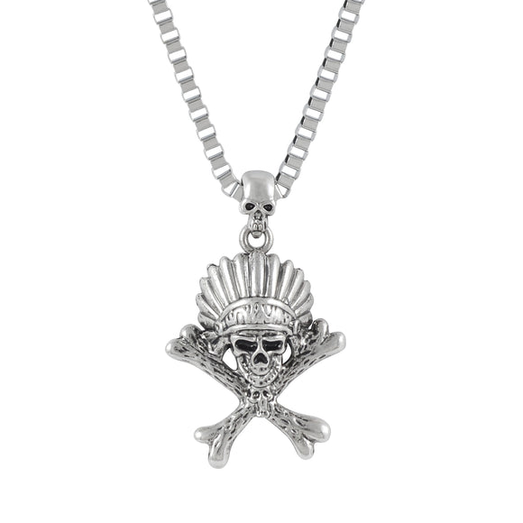 Sarah Red Indian Head Skeleton Pendant Necklace for Men - Silver
