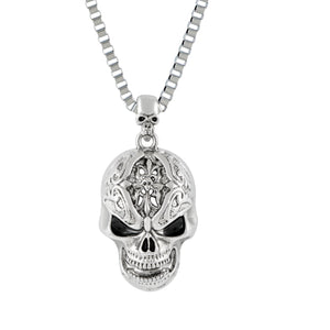 Sarah Devil Skull Pendant Necklace for Men - Silver