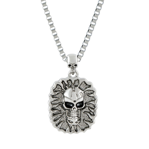 Sarah Wild Fire Skull Pendant Necklace for Men - Silver