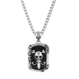 Sarah Skull Head Dog Tag Pendant Necklace for Men - Silver