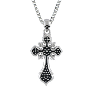Sarah Vintage Cross Pendant Necklace for Men - Silver