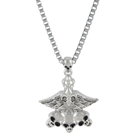 Sarah Triple Skull with Wings Pendant Necklace for Men - Silver