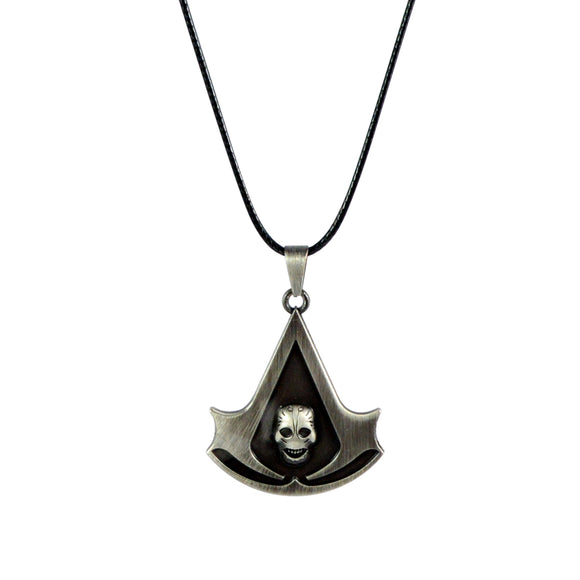 Sarah Assassin's Creed with Skull Pendant Necklace for Men - Silver