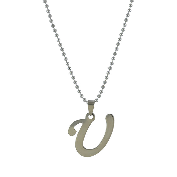 Sarah U Alphabet Pendant Necklace for Men - Silver
