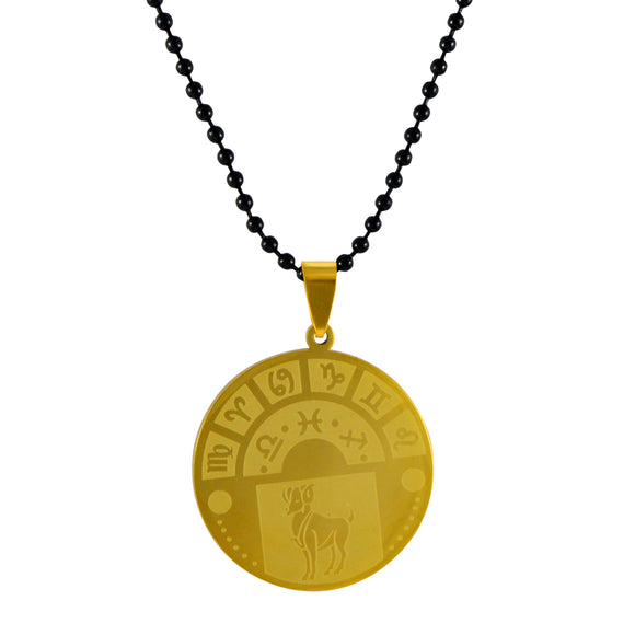 Sarah Aries Sign Pendant Necklace for Men - Gold