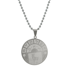 Sarah Aries Sign Pendant Necklace for Men - Silver