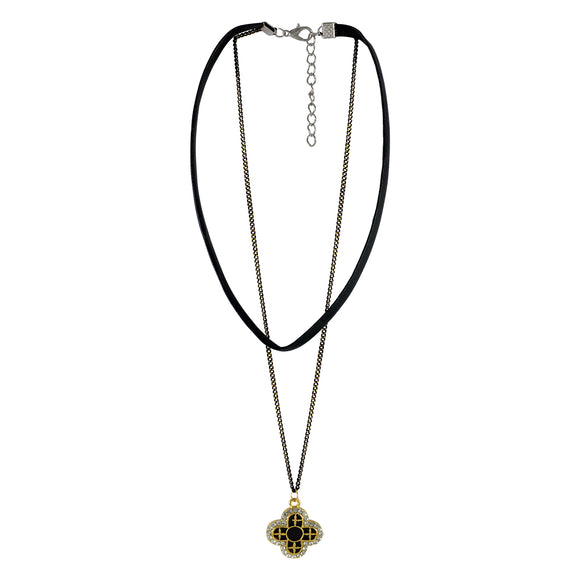 Sarah Floral Charm with Chain Gothic  Choker Necklace for Women - Black