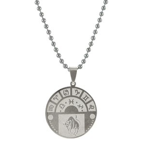 Sarah Taurus Sign Pendant Necklace for Men - Silver